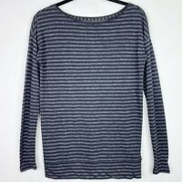 Ann Taylor Loft Striped Long Sleeve Black Gray Blouse Top Shirt Size XS Womens