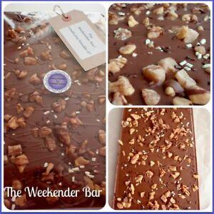 Giant chocolate slab, fudge, honeycomb,  birthday, sharing.