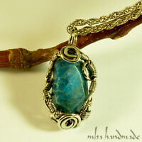 Apatite Crystal Pendant Antiqued German Silver Wire Wrapped Authentic Gemstone