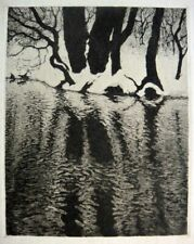 Aage Roose, etching. Winter landscape, trees by a stream 1915