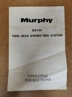 Vintage Murphy MS186 Twin Deck Stereo Midi System Genuine Instruction Manual
