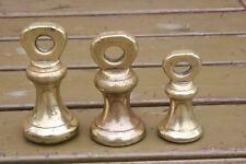THREE VICTORIAN BRASS BELL WEIGHTS - 8 & 4 OZ