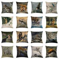 "18""Animals Tigers&Birds Home Decorative Sofa car Cushion Cover Linen Pillow Case"