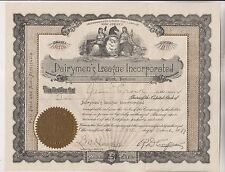 1917 DAIRYMEN'S LEAGUE INCORPORATED STOCK CERTIFICATE AND 2 RELATED LETTERS