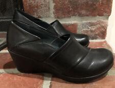 Dansko Rosaline Wedge Clogs Shoes Black Leather Slip On Size 40 9.5-10