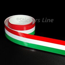 Fascia adesiva TRICOLORE cm 120 X 0,8 striscia adesiva italia bandiera italiana