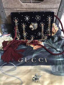 NEW NWT $3600 GUCCI velvet Broadway Rajah tassel clutch handbag - trusted seller