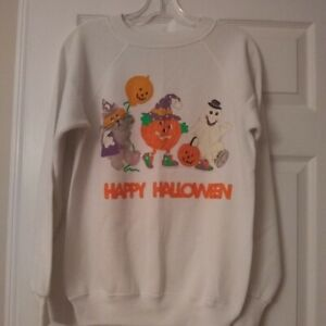 Vintage Homemade Handmade Halloween Sweatshirt Pumpkins Ghost Kitty