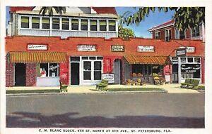 H53/ St Petersburg Florida Postcard c1920s C. M. Blanc Block Stores Real Estate