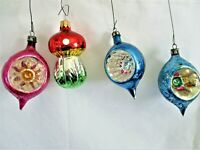 CHRISTMAS ORNAMENTS, SET OF4 GLASS,MULTI-COLOR SMALL SET,VINTAGE 3 INCHES