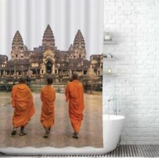 Beautiful Places Shower Curtain Buddha Zen design orange tan NIP