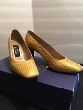 STUART WEITZMAN Gold Snake Embossed Leather Square Toe Pumps Shoes - 5.5  Box