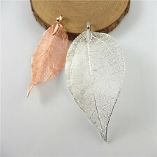 Wholesale 2pcs Mixed Real Natural Leaves Alloy Plated Charms Pendants Findings