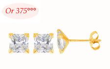 Dolly-Bijoux Femme Boucles d'Oreilles Diamant Cz Carré 5 mm Or Massif 9K