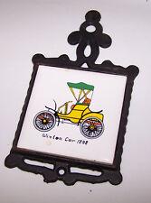 Vintage Trivet 1898 WINTON CAR Automobile Auto - Cast Iron & Ceramic Tile
