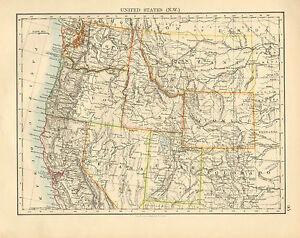 1892 Viktorianisch Landkarte ~ Vereinigte Staaten North-West Oregon Nevada Utah