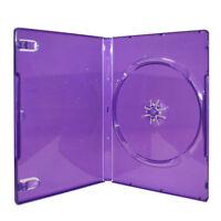NEW! Purple *Transparent* Standard Single DVD/CD/Game Case (14mm) 3-Pack Lot
