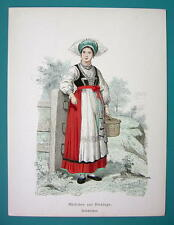SWEDEN Costume Fashion Girl from Blekinge - 1880s Color Antique Print