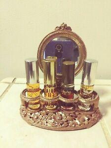 Vintage Vanity, Lipstick /Perfume Bottle Set GoldTone Holder Mirror & 4Pc Jovan