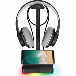 RGB Headphone Stand with USB Hub KAFRI Desk Gaming Headset Holder Hanger Rack...