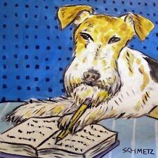 Fox Terrier Reading pet gift dog art tile coaster gift for librarian
