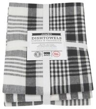 NOW DESIGNS Tea Towels Set of 3 Black Jumbo Dish Towels NWT 100% Cotton