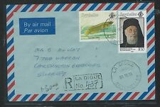 SEYCHELLES (P1210B) 1996  3.5R FISH+10R PRIEST  ON COVER REG FROM LA DIGUE TO UK