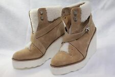 New Coach Kenna Wedge Suede/Shearling Ankle Boots-Camel  6.5M$395 JUST REDUCED