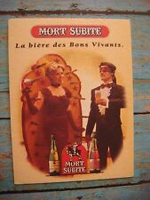 BEER Coaster ~*~ MORT SUBITE Lambic Bieres, BELGIUM ~*~ Blind-Fold Knife Thrower