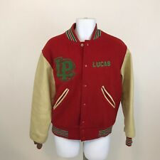 Vintage LaSalle Peru Varsity Letterman Jacket Mens M Leather Sleeves Snap Front