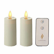 Luminara Votive Flameless Candle Set of 2 Ivory Moving Wick Candles with Timer