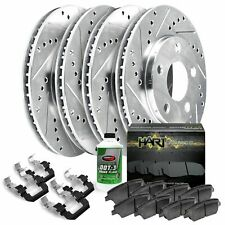 Fits Mazda Protege, Protege5 Front Rear Drill Slot Brake Rotors+Ceramic Pads