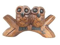 Hand Carved Wooden Owl Couple Figurine Wooden Love Bird Wood Sculpture Statue 9""
