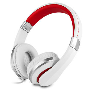 RockPapa Over Ear Foldable Headsets Headphones fr Samsung LG HTC Nokia White Red