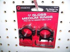 "Simmons 49167 1"" Medium Scope Rings Gloss Black"