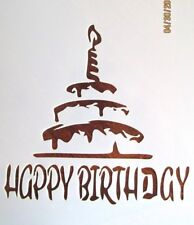 Happy Birthday with Cake Stencil/Template Reusable 10 mil Mylar