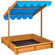 Sandkasten mit verstellbaren Dach Sandkiste Spielhaus Sitzbänke Holz Plane blau