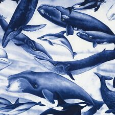 Fabric Whales Ocean Blue on Light Blue Cotton by the 1/4 yard