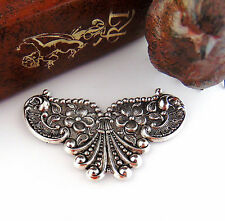 Antique Silver Cartouche Floral Shell Flower Stamping Oxidized Finding (C-801)