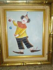 """Oil Canvas Original M. Dunn """"Clowning Around"""" Clown 8"""" x 10"""" Signed Framed Art"""