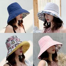 Women's Anti-UV Wide Brim Summer Beach Double Side Bucket Sun Protective Hat QA