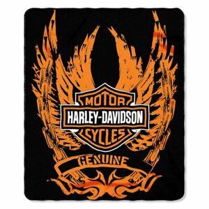Harley-Davidson Fleece Blanket Motorcycles Biker Genuine Quilt Printed Gift