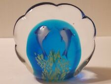 Murano Shell Shaped Double Dolphin Heavy Paperweight
