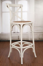 3 x Bar Stool Antique White Cross Back French Provincial Birch Cafe Barstool NEW