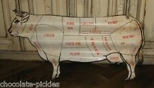 BiG COW BUTCHER MEAT CHART Wall SIGN*Primitive Farmhouse/French Country Decor