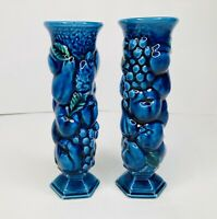 2 Vtg Inarco Japan Bud Vase's Blue Fruit MCM Blueberry Tiny Chips **READ