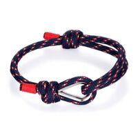 Nautical Stainless Steel Sailor Navy Blue Rope Cord Men's Outdoor Sport Bracelet