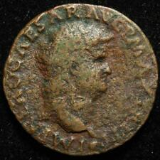 Nero AE as, rev. winged Victory with shield, Lugdunum 62-68AD - RIC 543