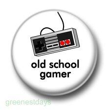 Old School Gamer 1 Inch / 25mm Pin Button Badge Retro Video Computer Games Fun