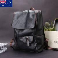 Vintage Men's Leather School Travel Backpack Satchel Laptop Bag Rucksack Handbag